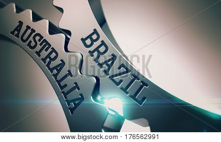 Shiny Metal Cogwheels with Brazil Australia Inscription. Brazil Australia on the Mechanism of Shiny Metal Cogwheels. Enterprises Concept in Technical Design. 3D Illustration.
