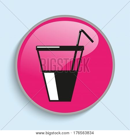 Drink in a glass with a straw. Vector icon. Conditional vector image in the form of color.