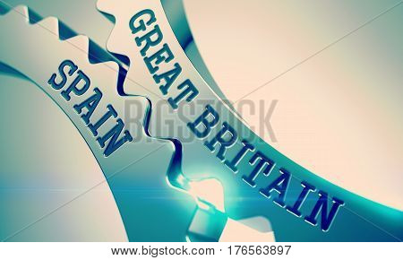 Great Britain Spain Metallic Cogwheels - Business Concept. with Glow Effect and Lens Flare. Metal Gears with Great Britain Spain Inscription. 3D Illustration.