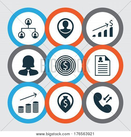 Set Of 9 Human Resources Icons. Includes Successful Investment, Coins Growth, Female Application And Other Symbols. Beautiful Design Elements.