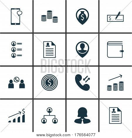 Set Of 16 Human Resources Icons. Includes Successful Investment, Tree Structure, Job Applicants And Other Symbols. Beautiful Design Elements.