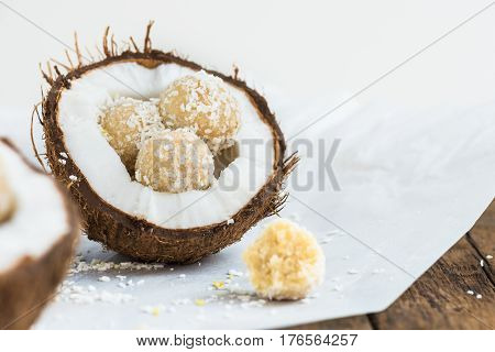 Raw Vegan Coconut And Lemon Truffles In The Coconut Shel