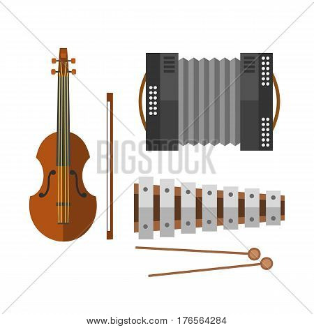 Piano keyboard accordion harmonica musical instrument vector illustration and violin acoustic antique classical melody performance ivory accordian. Recreational concertina revival culture.