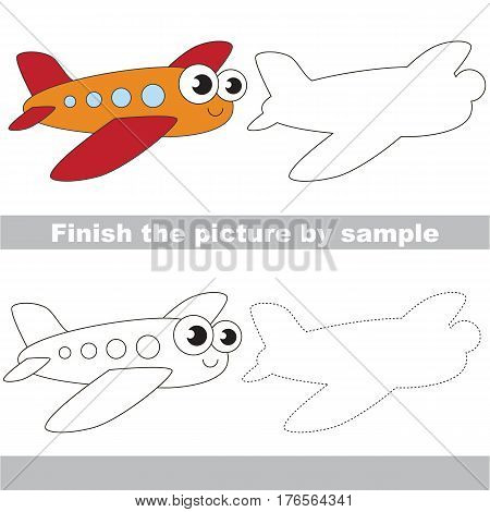 Drawing worksheet for children. Easy educational kid game. Simple level of difficulty. Finish the picture and draw the Funny Airplane.