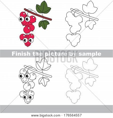 Drawing worksheet for children. Easy educational kid game. Simple level of difficulty. Finish the picture and draw the Red Currant