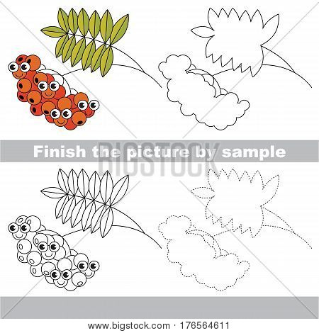 Drawing worksheet for children. Easy educational kid game. Simple level of difficulty. Finish the picture and draw the Red Ash Berry