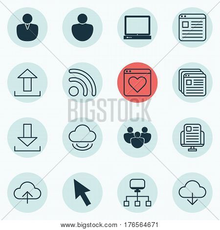 Set Of 16 Internet Icons. Includes Local Connection, Human, Send Data And Other Symbols. Beautiful Design Elements.