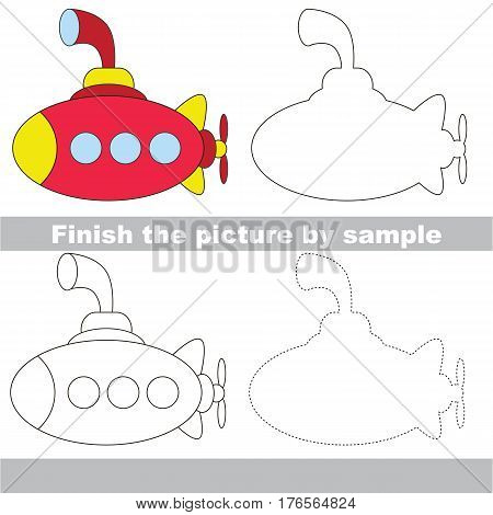 Drawing worksheet for children. Easy educational kid game. Simple level of difficulty. Finish the picture and draw the Submarine