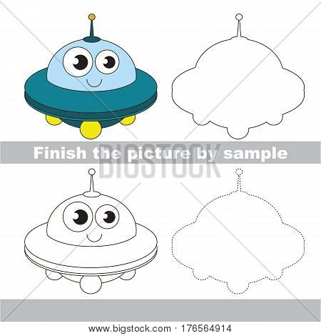 Drawing worksheet for children. Easy educational kid game. Simple level of difficulty. Finish the picture and draw the Funny UFO