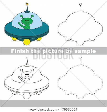 Drawing worksheet for children. Easy educational kid game. Simple level of difficulty. Finish the picture and draw the Ufo