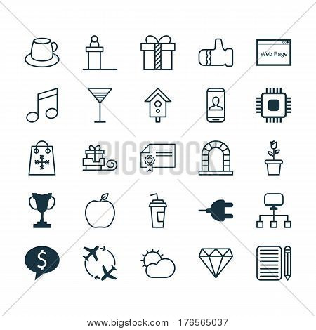 Set Of 25 Universal Editable Icons. Can Be Used For Web, Mobile And App Design. Includes Elements Such As Drink Cup, Fly Around, Birdhouse And More.