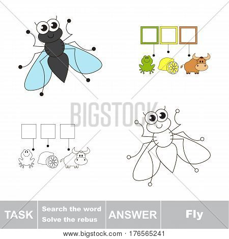 Vector rebus game for children. Easy educational kid game. Simple game level. Find solution and write the hidden word Fly