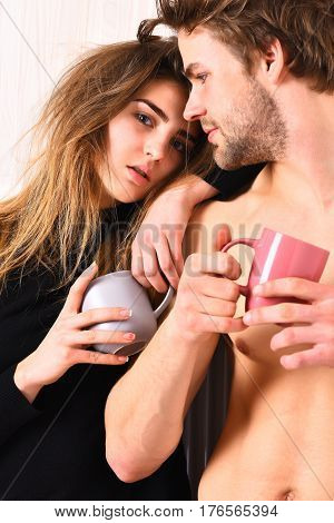 Couple Of Bearded Man With Cute Sexy Girl Holding Cups