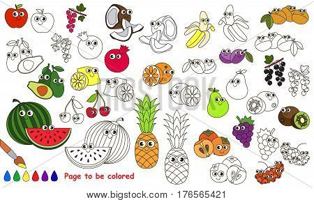 Funny big fruit set to be colored. Coloring book to educate kids. Learn colors. Visual educational game. Easy kid gaming and primary education. Simple level of difficulty. Page for coloring.
