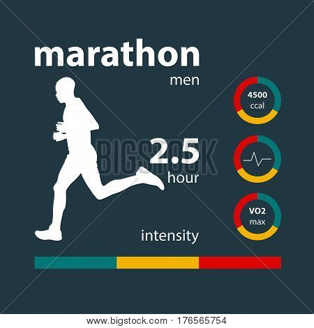 Infographics man running marathon: time intensity calories heart rate oxygen
