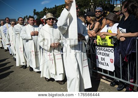 Fatima Portugal - May 13 2014: Priests at the Sanctuary of Fatima during the celebrations of the apparition of the Virgin Mary in Fatima Portugal.