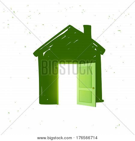 House icon in green color with open door and light from inside isolated on white background. Vector illustration
