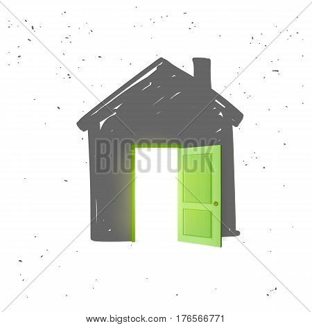 House icon in grey color with open door and light from inside isolated on white background. Vector illustration