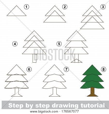 Vector kid educational game to develop drawing skill with easy game level preschool kids education. Funny drawing school. Drawing tutorial for Evergreen Tree.