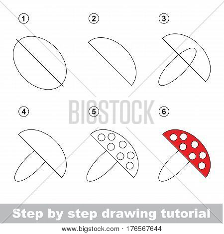 Vector kid educational game to develope drawing skill with easy game level preschool kids education. Drawing tutorial for toadstool, the red mushroom.