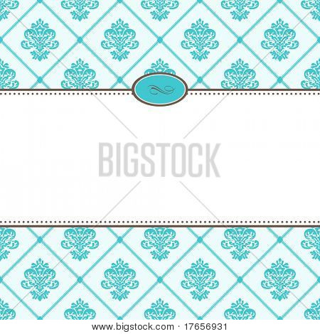 Vector Retro Blue Pattern and Frame. Easy to edit. Perfect for invitations or announcements.