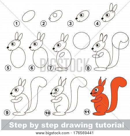 Vector kid educational game to develop drawing skill with easy game level preschool kids education. Funny drawing school. Drawing tutorial for Squirrel.