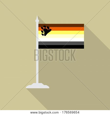 Gay bear pride LGBT flag with flagpole flat icon with long shadow. Vector illustration EPS10.