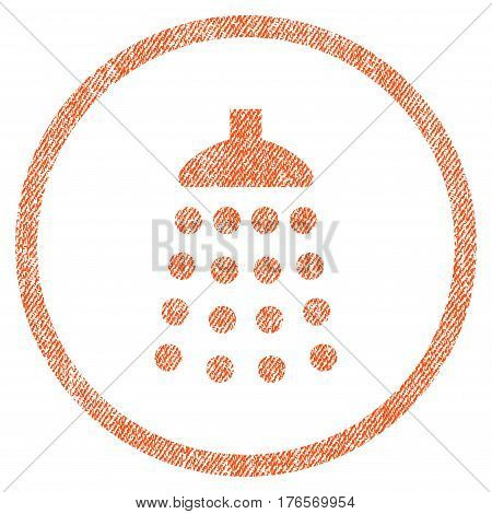 Shower vector textured icon for overlay watermark stamps. Fabric orange vectorized texture. Symbol with unclean design. Rubber seal stamp with fiber textile structure.