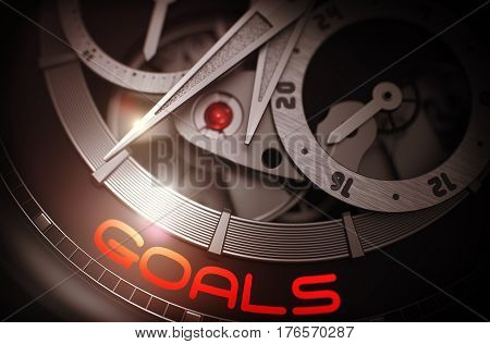 Goals on Face of Fashion Wrist Watch Machinery Macro Detail Monochrome. Work Concept with Glow Effect and Lens Flare. 3D Rendering.