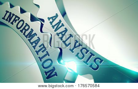 Analysis Information on the Shiny Metal Cog Gears, Enterprises Illustration with Glow Effect and Lens Flare. Shiny Metal Cog Gears with Analysis Information Message. 3D.