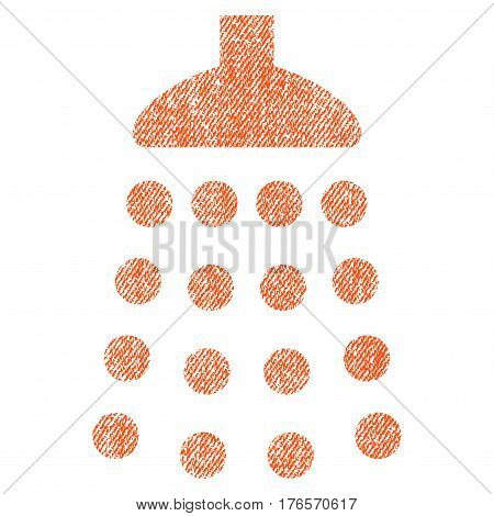 Shower vector textured icon for overlay watermark stamps. Fabric orange vectorized texture. Symbol with scratched design. Rubber seal stamp with fiber textile structure.