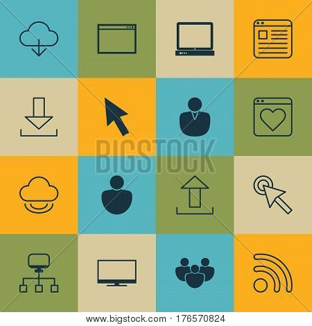 Set Of 16 World Wide Web Icons. Includes Local Connection, Website Page, Save Data And Other Symbols. Beautiful Design Elements.