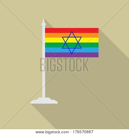 Israeli gay pride flag blue star of David with flagpole flat icon with long shadowt. LGBT community flag.