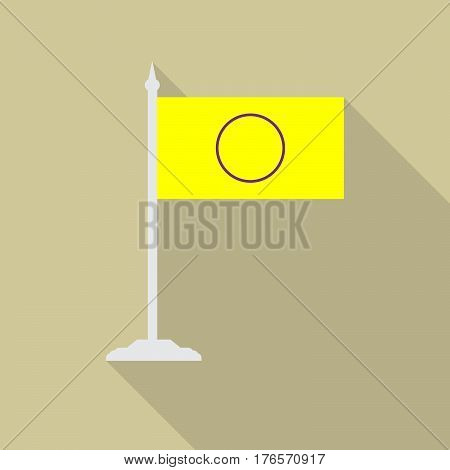 Intersex pride flag with flagpole flat icon with long shadow. Vector illustration EPS10 of a rainbow pride flag.