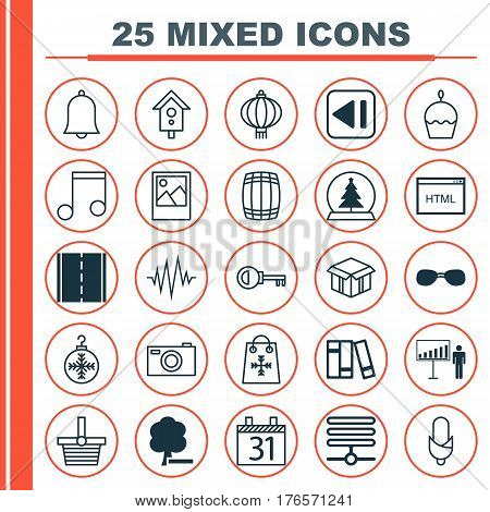 Set Of 25 Universal Editable Icons. Can Be Used For Web, Mobile And App Design. Includes Elements Such As Summer Glasses, Photo Camera, Digital Camera And More.