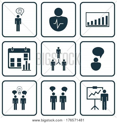 Set Of 9 Authority Icons. Includes Presentation Date, Special Demonstration, Company Statistics And Other Symbols. Beautiful Design Elements.