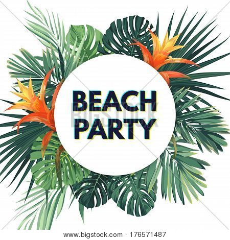 Summer tropical flyer with exotic palm leaves and flowers. Jungle floral template. Vector illustration.