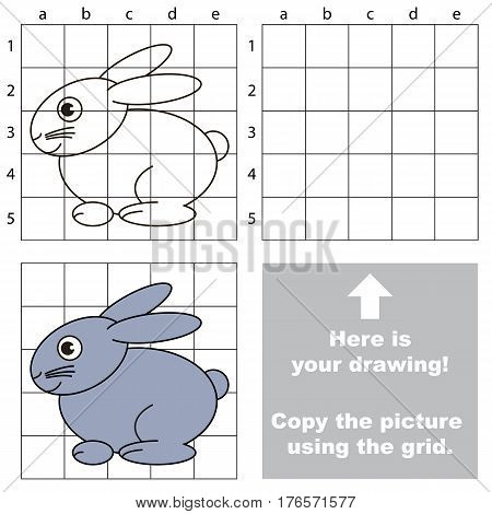 Little Rabbit to be duplicated using grid sells. Drawing tutorial to educate preschool kids with easy kid educational gaming and primary education of simple game level of difficulty.