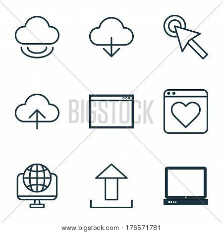 Set Of 9 Internet Icons. Includes Program, Data Synchronize, Computer Network And Other Symbols. Beautiful Design Elements.