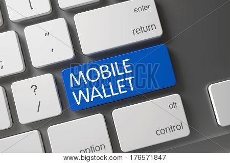 Mobile Wallet Concept Modern Keyboard with Mobile Wallet on Blue Enter Keypad Background, Selected Focus. 3D Illustration.
