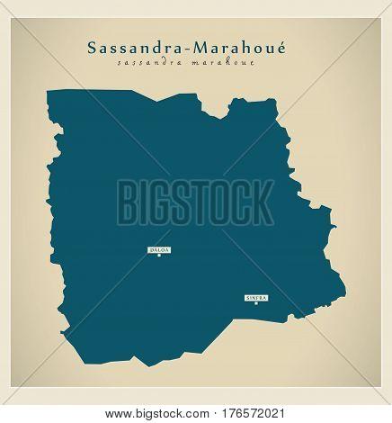 Modern Map - Sassandra-marahoue Ci Illustration Silhouette