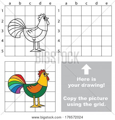 Rainbow Cock to be duplicated using grid sells. Drawing tutorial to educate preschool kids with easy kid educational gaming and primary education of simple game level of difficulty.