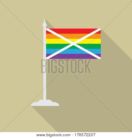 Scottish gay pride flag  with flagpole flat icon with long shadowt. LGBT community flag.