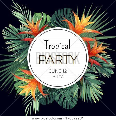 Customizable vector floral design template for summer party. Tropical flyer with green exotic plants and flowers. Vector illustration.