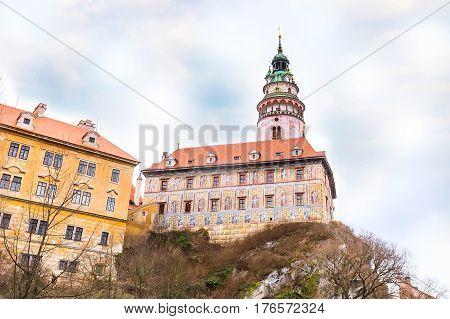 Cesky Krumlov, Czech Republic famous landmark, castle with tower