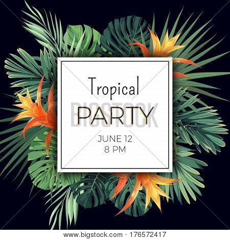 Customizable floral design template for summer party. Tropical flyer with green exotic palm leaves and orange flowers. Vector illustration.