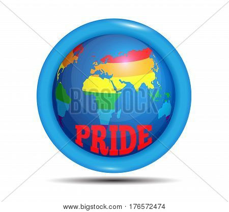 Gay-pride icon on a white background. isolated symbol LGBT. Symbol gay and lesbian equality pride. Vector illustration for web-design and design banner, flyer, poster, clothes and t-shirt. rainbow map