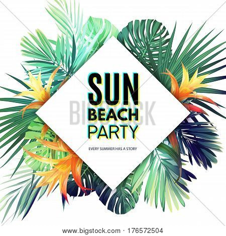 Bright hawaiian vector floral design template for summer party. Tropical flyer with green exotic palm leaves and orange flowers. Vector illustration.