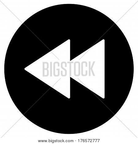 Backward vector sign button in black circle.