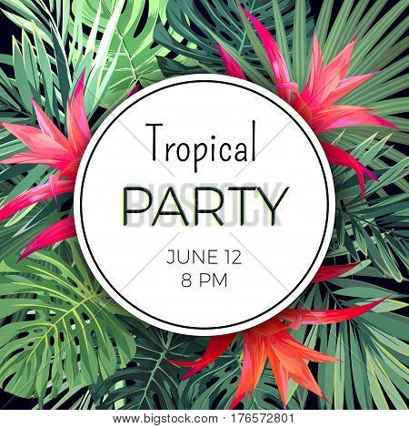 Customizable floral design template for summer party. Tropical flyer with green exotic plants and red flowers, vector illustration.